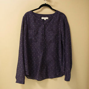 LOFT Chiffon Long Sleeve Popover Top